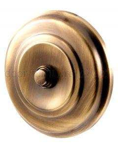 Antique Brass Circular Bell Push 108mm