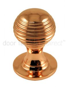 Rose Copper Queen Anne Reeded Solid Cupboard Knob 32mm
