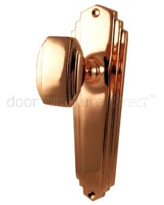 Rose Copper Art Deco Knob on Latch Plate