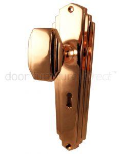 Rose Copper Art Deco Knob on Lock Plate