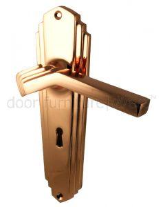 Rose Copper Art Deco Lock Door Handles