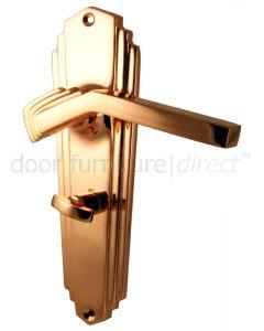 Rose Copper Art Deco Bathroom Door Handles