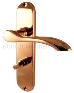 Rose Copper Cadenza Bathroom Door Handles