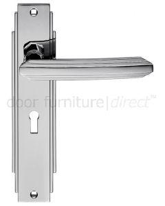 Polished Chrome Art Deco Lock Door Handles