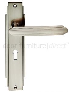 Satin Nickel Art Deco Lock Door Handles