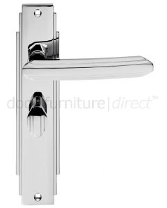 Polished Chrome Art Deco Bathroom Door Handles
