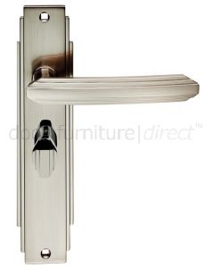 Satin Nickel Art Deco Bathroom Door Handles