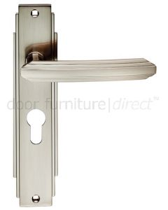 Satin Nickel Art Deco EURO PROFILE Door Handles