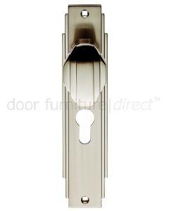 Satin Nickel Art Deco Door Knob on EURO PROFILE Plate
