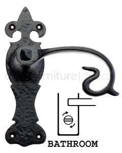 Fullbrook Iron Scroll Bathroom Door Handles