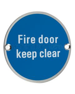 Stainless Steel Circular Fire Door Keep Clear Sign 76mm