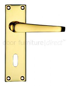 Victorian Flat Electro Brass Lock Door Handles