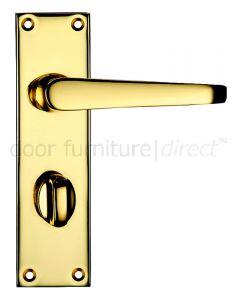 Victorian Flat Electro Brass Bathroom Door Handles