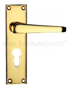 Victorian Flat Electro Brass Euro Profile Door Handles