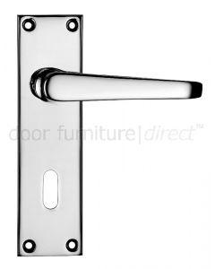 Victorian Flat Polished Chrome Lock Door Handles