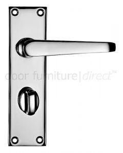 Victorian Flat Polished Chrome Bathroom Door Handles
