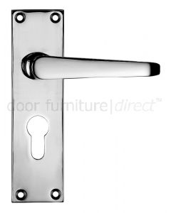 Victorian Flat Polished Chrome Euro Profile Door Handles