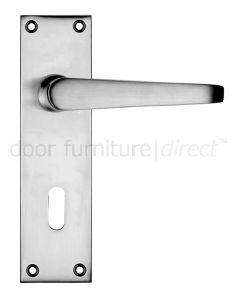 Victorian Flat Satin Chrome Lock Door Handles
