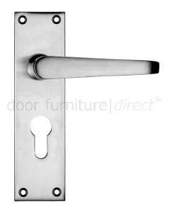 Victorian Flat Satin Chrome Euro Profile Door Handles