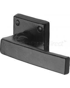 Black Iron Rustic Hanwood Lever on Square Rose Door Handles