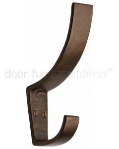 Solid Bronze Rustic Hat & Coat Hook 130mm