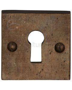 Solid Bronze Rustic Square Keyhole Escutcheon 54mm