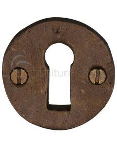 Solid Bronze Rustic Round Keyhole Escutcheon 45mm