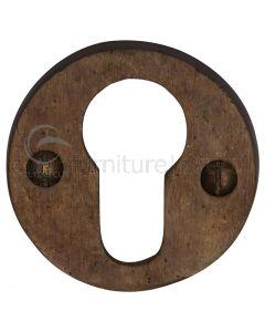 Solid Bronze Rustic Round Euro Cylinder Escutcheon 45mm