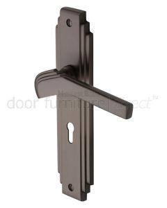 Tiffany Matt Bronze Art Deco Lock Door Handles