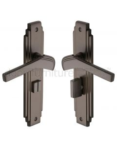 Tiffany Matt Bronze Art Deco Bathroom Door Handles