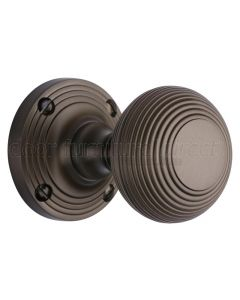 Matt Bronze Reeded Mortice Door Knobs 60mm