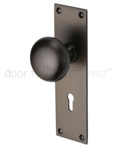 Matt Bronze Balmoral Knob on Lock Plate