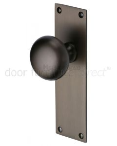 Matt Bronze Balmoral Knob on Latch Plate