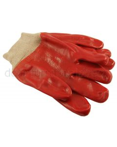 Red PVC Knitted Wrist Gloves In Pairs
