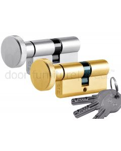 R6 6 Pin Key and Round Turn Euro Cylinder 30x30mm to 40x50mm
