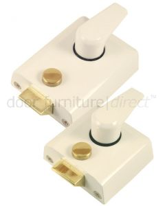 White Front Door Nightlatch Standard and Narrow Style