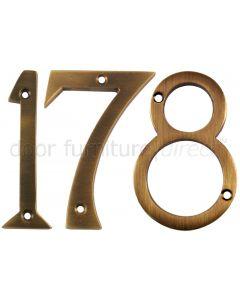 Antique Brass Face Fix Numerals 76mm 0-9