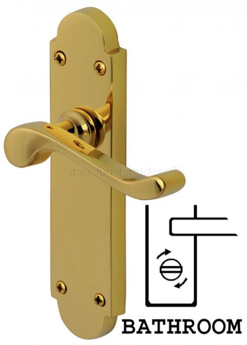 sc 1 st  Door Furniture Direct & PVD None Tarnish Brass Savoy Bathroom Lock Door Handles