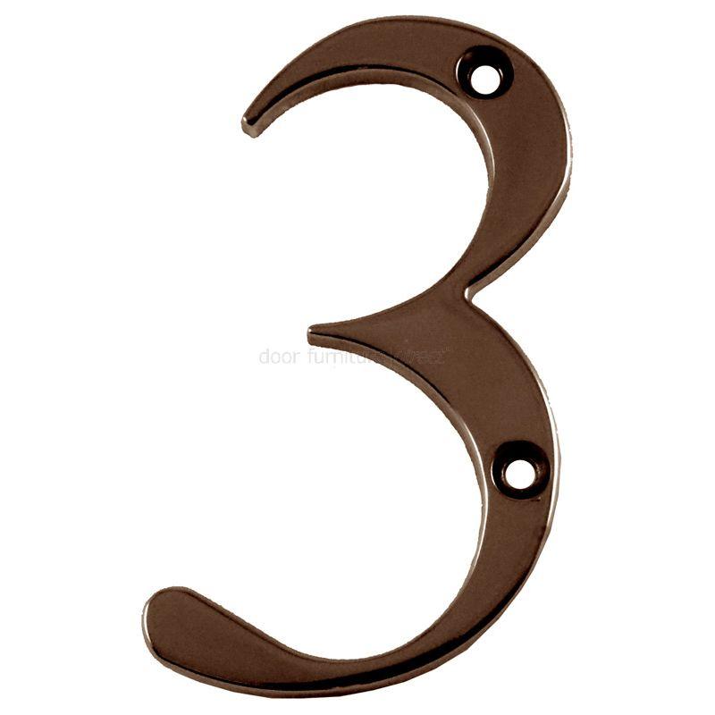 Hardex Bronze Door Numeral 3 80mm  sc 1 st  Door Furniture Direct & Fabu0026Fix Hardex Bronze Door Numerals 0-9 u0026 Letters A-F 80mm