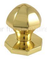 Brass Faceted Centre Door Knob 64mm