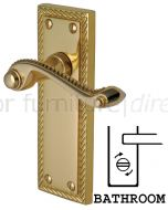 Georgian Polished Brass Rope Edge Bathroom Lock Door Handles