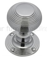 Polished Chrome Reeded Mortice Door Knob Set 55mm