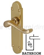 Savoy Scroll Lever Polished Brass Bathroom Lock Door Handles