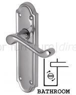 Meridian Scroll Lever Polished Chrome Bathroom Lock Door Handles