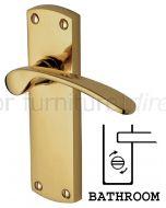 Luca Curved Lever Polished Brass Bathroom Lock Door Handle Set