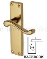 Malvern Scroll Lever Polished Brass Bathroom Lock Door Handle Set