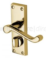Malvern Scroll Lever Polished Brass Privacy Lock Door Handle Set