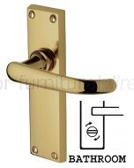 Avon Straight Lever Polished Brass Bathroom Door Handle Set