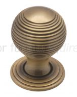 Distressed Brass 32mm Reeded Ball Cupboard Knob