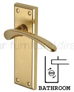 Hilton Curved Lever Dual Finish Brass Bathroom Lock Door Handles